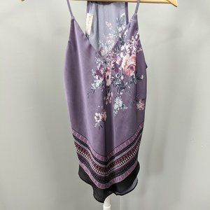 One World Women's Purple Floral Hank Hem Tank Top